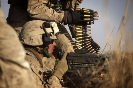 A combined force of 15,000 troops led by US Marines launched a pre-dawn assault on Marjah. (AFP: Patrick Baz)