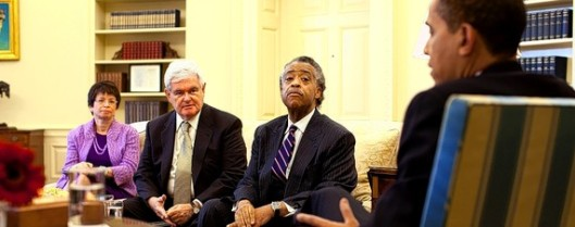 The Rev. Al Sharpton famous activism, the race card, plantation politics and racially polarizing views is a key ally for President Obama, pictured in an Oval Office meeting last year.