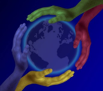 Four Hands On Planet by Fran Hogan,Public Domain.