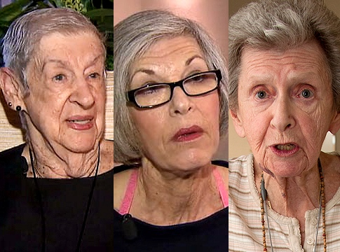 Ruth Sherman, 88, Linda Kallish, 66, and Lenore Zimmerman, 85 (l. to r.), all claim they were strip-searched by TSA agents at Kennedy Airport.  Photograph courtesy of ABC News; ABC News; Gary I. Rothstein for New York Daily News.