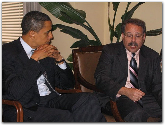 Barack Obama and M J Rosenberg of Media Matters. Image courtesy of The Soros Files.