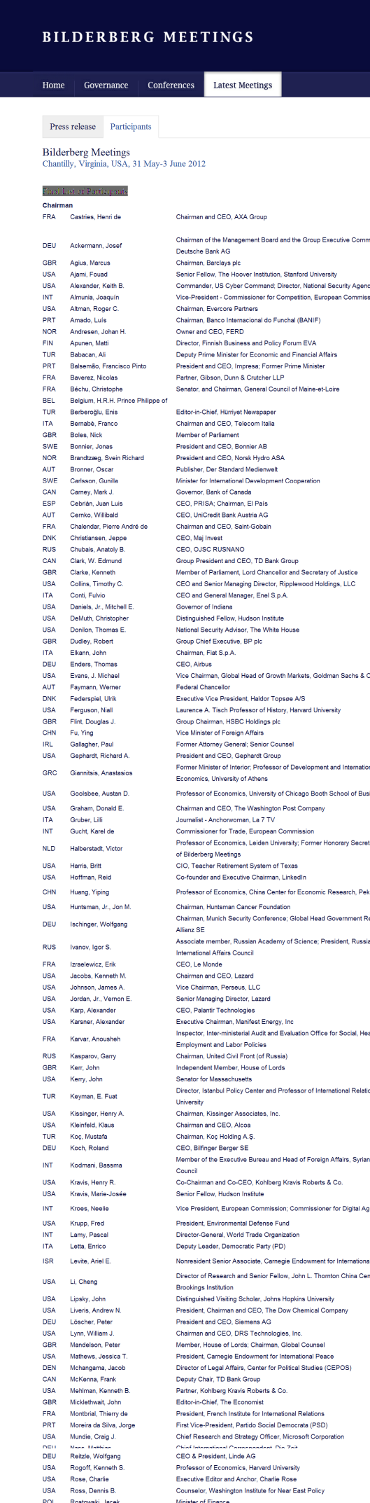 Bilderberg 2012 Final List of Participants