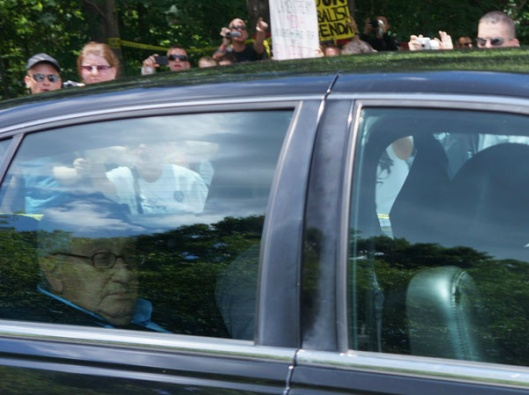 Henry Kissinger Photographed Leaving Bilderberg 2012. lmage Courtesy of IntelHub.