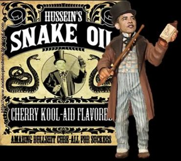 Obama Snake Oil Salesman. Image courtesy of Fellowship of the Minds