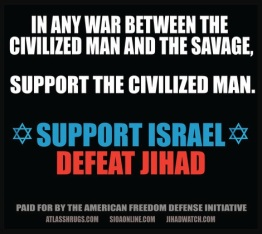 "This advertisement was offered as a direct response to an anti-Israel advertisement that was displayed on MTA property by a pro-Palestine group. The MTA approved the anti-Israel advertisement, which portrayed the Palestinians as being on the side of ""peace and justice."" However, the MTA rejected AFDI's advertisement, claiming that it violated its ""demeaning"" speech restriction."