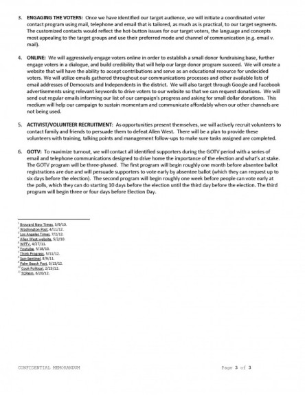 Soros-Backed SuperPAC Targeting Allen West Confidential Memo Page 3/3
