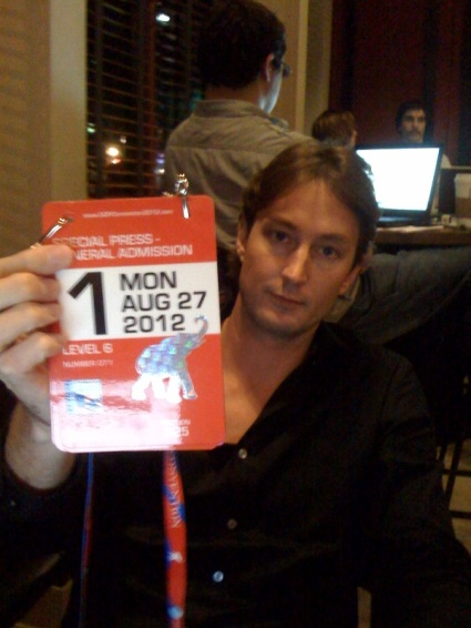 Christopher Greene with AMTV's Republican National Convention press credentials for Monday 8272012.  Image courtesy of AMTV.