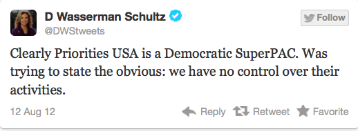 Debbie Wasserman Schultz Tweet re Priorities USA SuperPAC lie SCREENSHOT 08122012