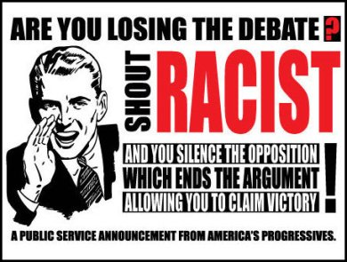 Lunatic Progressives losing debate pull out race card.  Image courtesy of americanmexorist.
