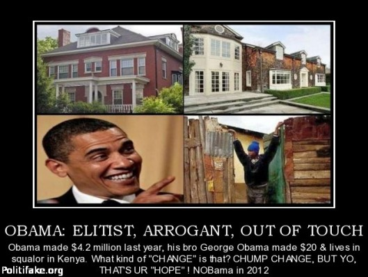 Obama Arrogant Elitist and Out of touch - Image courtesy of Politifake.