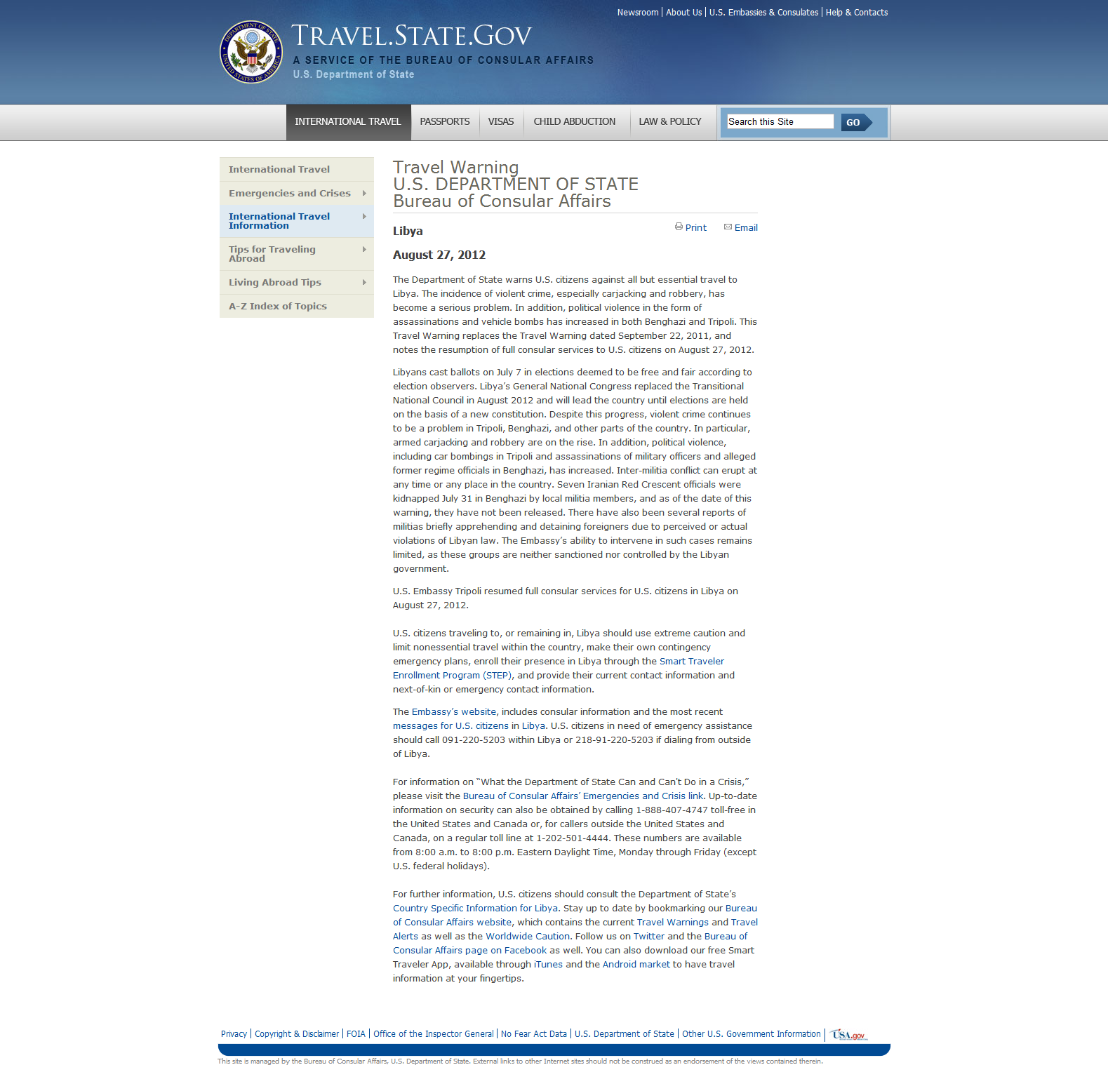 Department of State ALERT Warning Travelers to Stay Away from Libya dated August 27 2012 screenshot