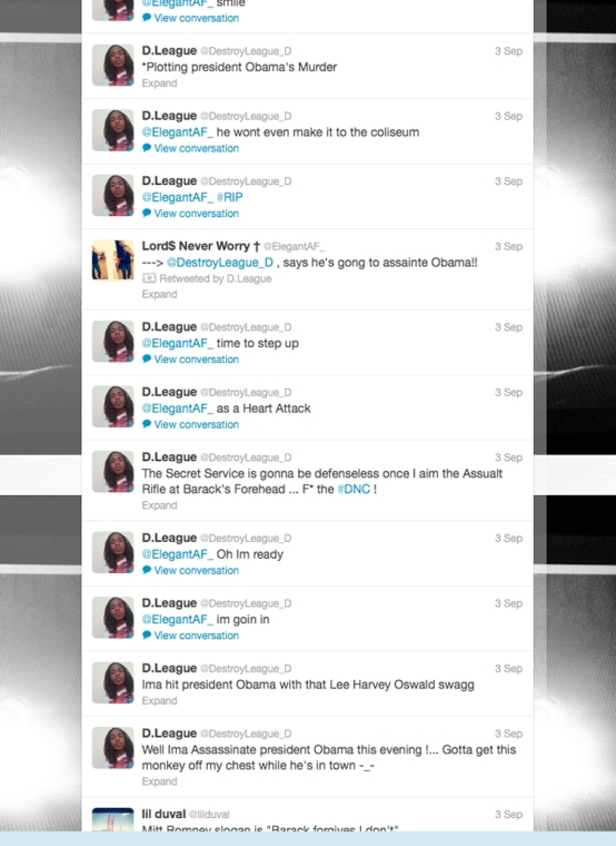 Donte Jamar Sims aka DLeague Kill Obama Tweets