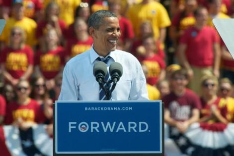 Obama at Iowa State University.  Image courtesy of Zimbio.