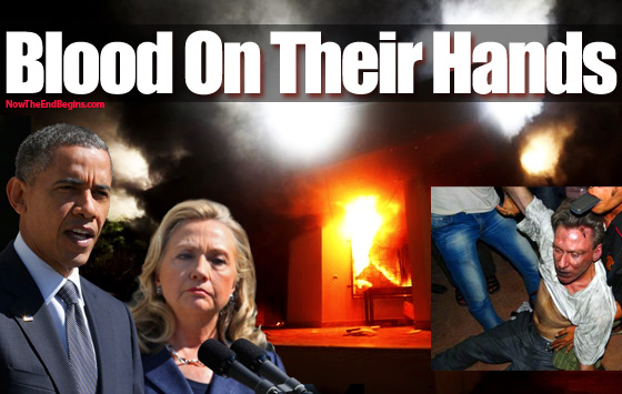 Libyan embassy guards HAD NO BULLETS in their guns to protect themselves and Ambassador Stevens when the attacks came? And who removed the bullets? Hillary and the State Department.  Image courtesy of Now the End Begins.