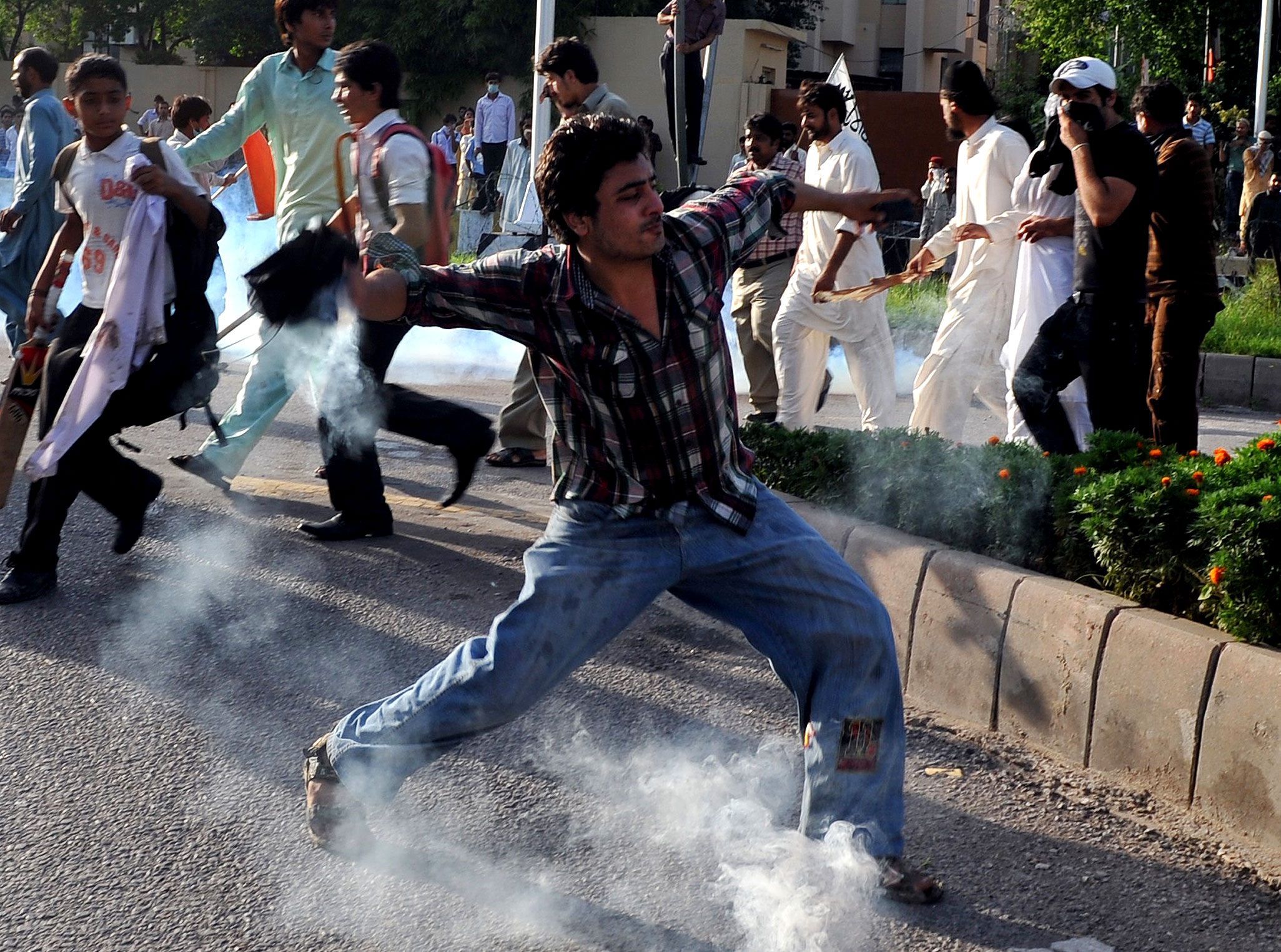 Reports said police and students were injured in the protests over the video entitled 'Innocence of Muslims' [AFP]