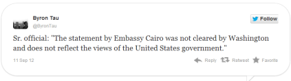 Screenshot Twitchy of Obama Admin Disavowing U S Embassy Cairo Egypt Apology