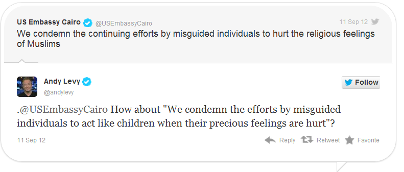 US Embassy in Cairo tweets apologies for hurt Muslim feelings - Twitchy
