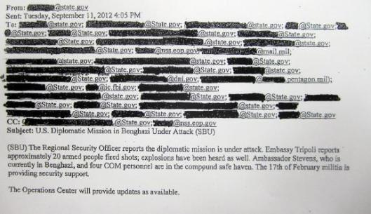 Emails from State Dept. Operations Center to Washington DC 9112012 405PM Re Benghazi Libya Attack Real-Time