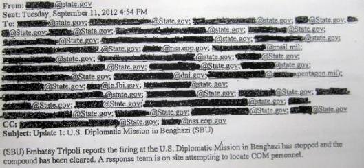 Emails from State Dept. Operations Center to Washington DC 9112012 454PM Re Benghazi Libya Attack Real-Time