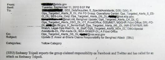 Emails from State Dept. Operations Center to Washington DC 9112012 607PM Re Benghazi Libya Attack Real-Time
