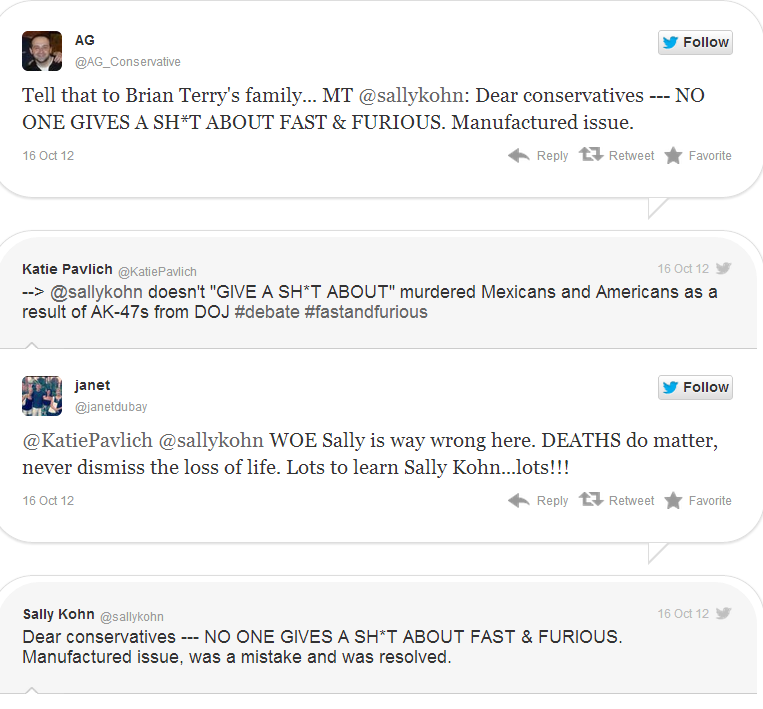 Tweets taking on Fox News, Sally Kohn re Operation Fast and Furious Tweet Screenshot 10162012 Image courtesy of Twitchy