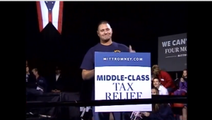 Screenshot of U.A.W. Local 1050 Union Member supports Paul Ryan at Youngstown Ohio event 10-13-2012