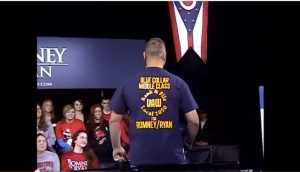 Screenshot, Rear view of U.A.W. Local 1050 Union Member supports Paul Ryan at Youngstown Ohio event 10-13-2012