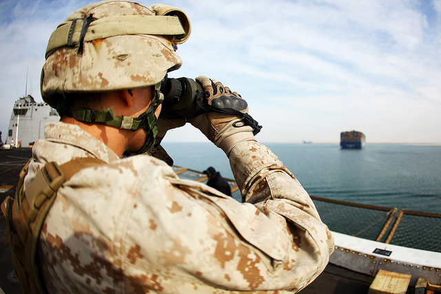 I Spy A Marine with Battalion Landing Team 1st Battalion, 2nd Marine Regiment, 24th Marine Expeditionary Unit, stands security watch aboard USS New York as the ship transits through the Suez Canal Nov. 5, 2012. The 24th MEU is deployed with the Iwo Jima Amphibious Ready Group and is currently in the 6th Fleet Area of Responsibility as a disaster relief and crisis response force. Since deploying in March, they have supported a variety of missions in the U.S. Central and European Commands, assisted the Navy in safeguarding sea lanes, and conducted various bilateral and unilateral training events in several countries in the Middle East and Africa. The 24th MEU is scheduled to return to their home bases in North Carolina later this year.  (U.S. Marine Corps photo by Cpl. Michael Petersheim)