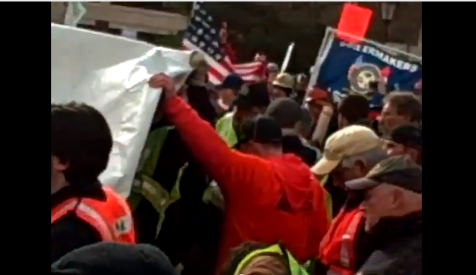 Union Thug Assault of Occupied AFP Tent on Camera Michigan Right to Work Vote Union Captains and Marshals 12112012 Screenshot 001