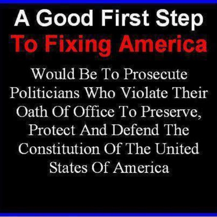 A good first step prosecute politicians who violate their sworn oath to protect the Constitution