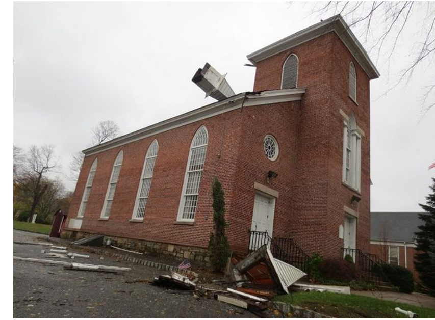 A steeple was ripped from a church in Rockaway during Hurricane Sandy