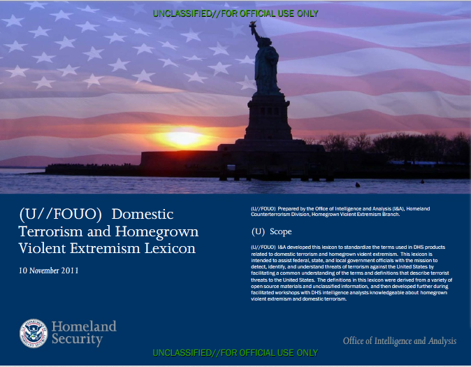Screenshot of DHS Extremism Lexicon Cover page
