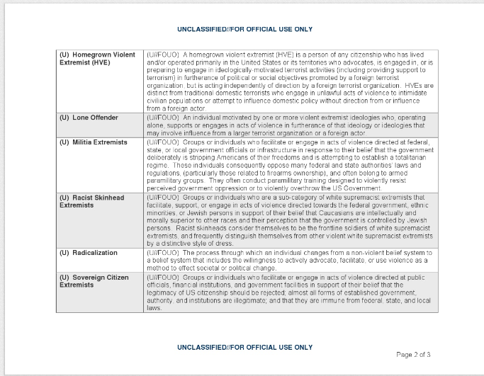 Screenshot of DHS Extremism Lexicon page 2