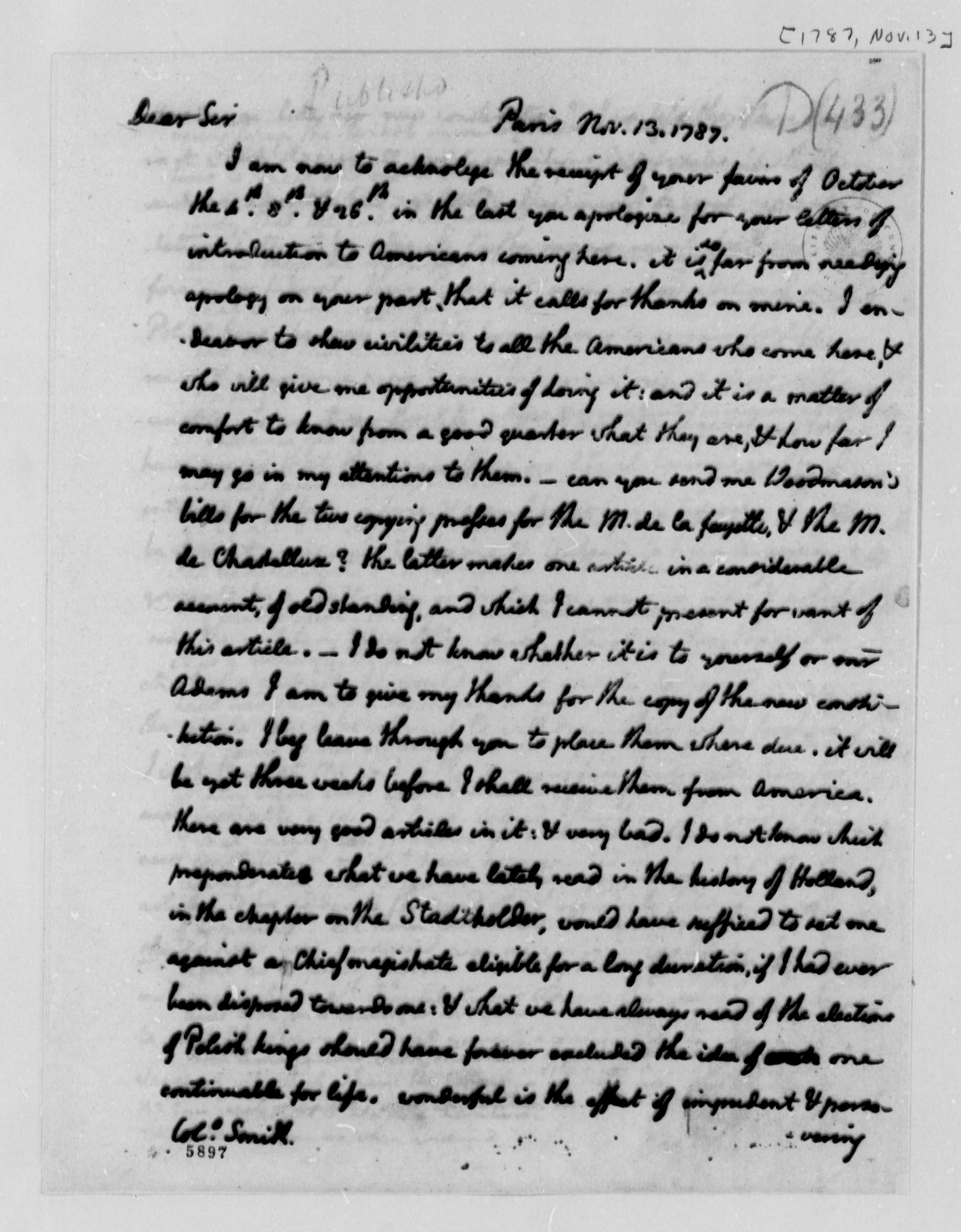 Thomas Jefferson to William S. Smith, November 13, 1787