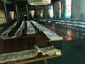 Torah scrolls stretched across chairs following superstorm Sandy's destruction of the Temple Israel synagogue in Long Beach