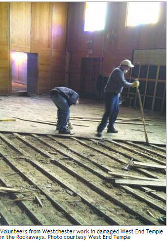 West End Temple Damaged by Superstorm Sandy.  Image courtesy of the Jewish Week.