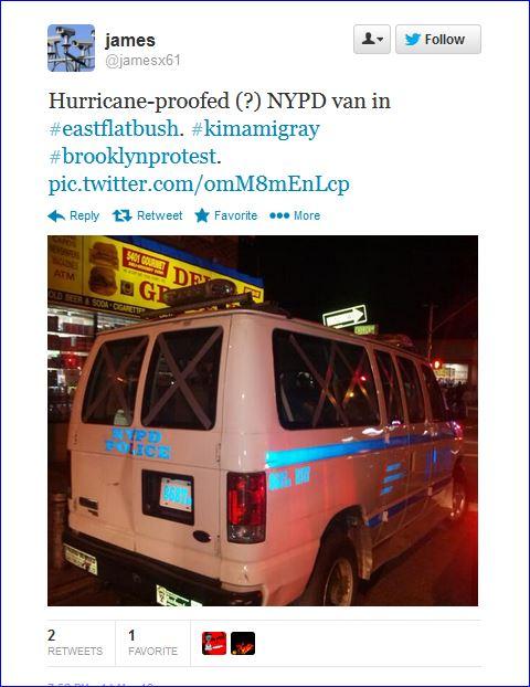 Fourth night protests in Brooklyn screenshot tweet 007 Police Van  03142013