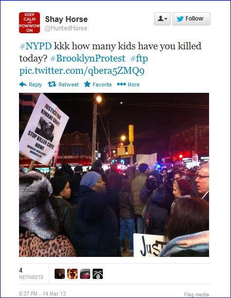 Fourth night protests in Brooklyn screenshot tweet 008 nypd kkk  03142013