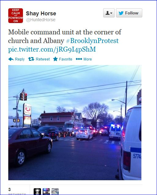 Fourth night protests in Brooklyn screenshot tweet 009 church avenue and albandy avenue police state  03142013