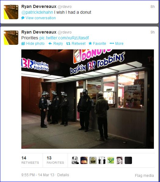 Fourth night protests in Brooklyn screenshot tweet NYPD protect Dunkin Donuts establishment  03142013