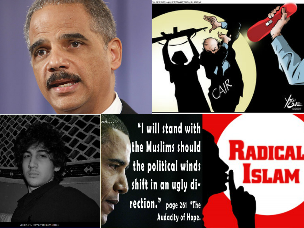 Collage Obama Holder Boston Bomber Cair Radical Islam collage