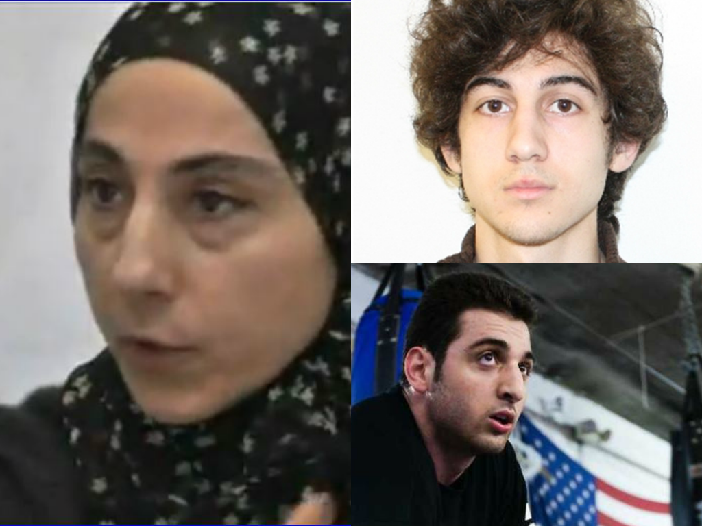 Left:  Zubeidat Tsarnaev, mother of Boston marathon terrorists; top right, Dzhokhar Tsarnaev and bottom right, Tamerlan Tsarnaev (deceased).