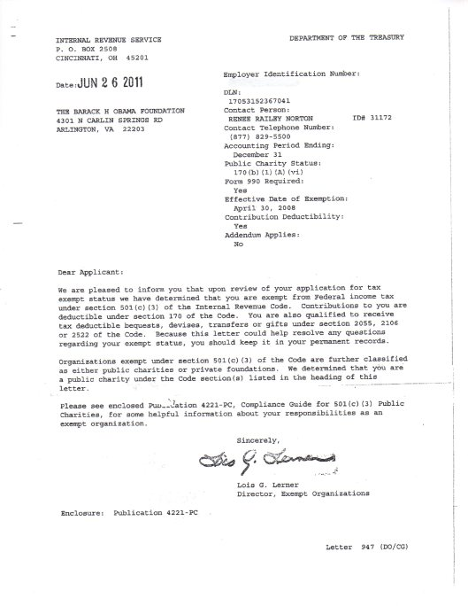 Barack H Obama Foundation Letter from the IRS