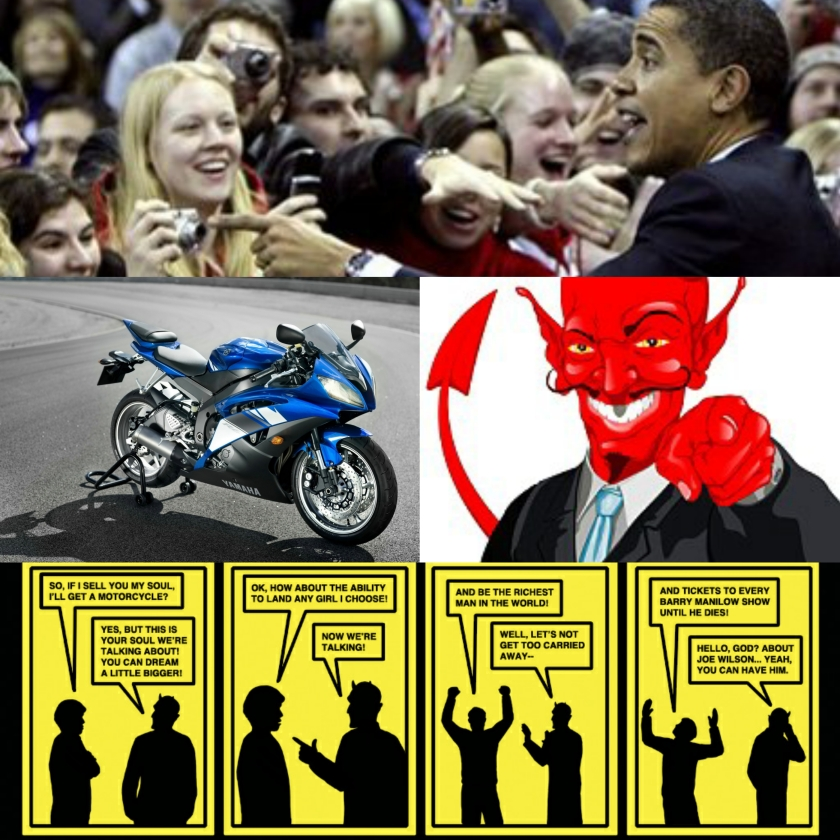 Progressives buying souls of young Americans collage