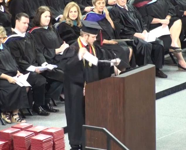 """Valedictorian Roy Costner IV, top graduate of Liberty High School, Pickens County, South Carolina tore up his """"approved"""" speech and chose to address the crowd with the Lord's Prayer.  The audience's initial shock turned into a spattering applause that fast erupted into a roar of support."""