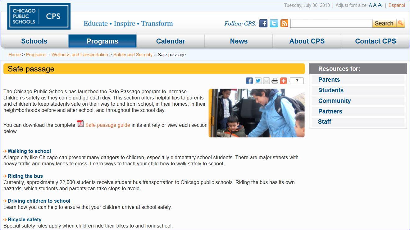 Chicago Safe Passage Program screenshot