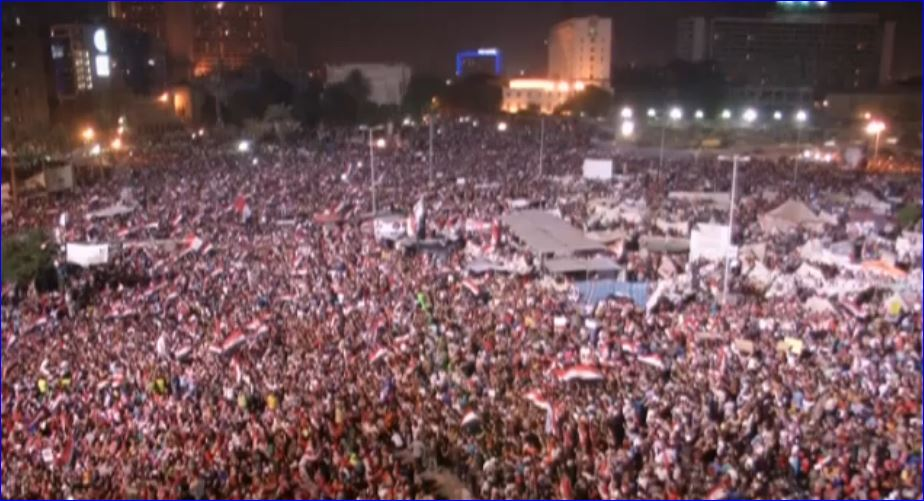 Tahrir Square screenshot of Egyptians in Tahrir Square celebrating the ousting of Mohammed Morsi by Egyptian military 002 07032013