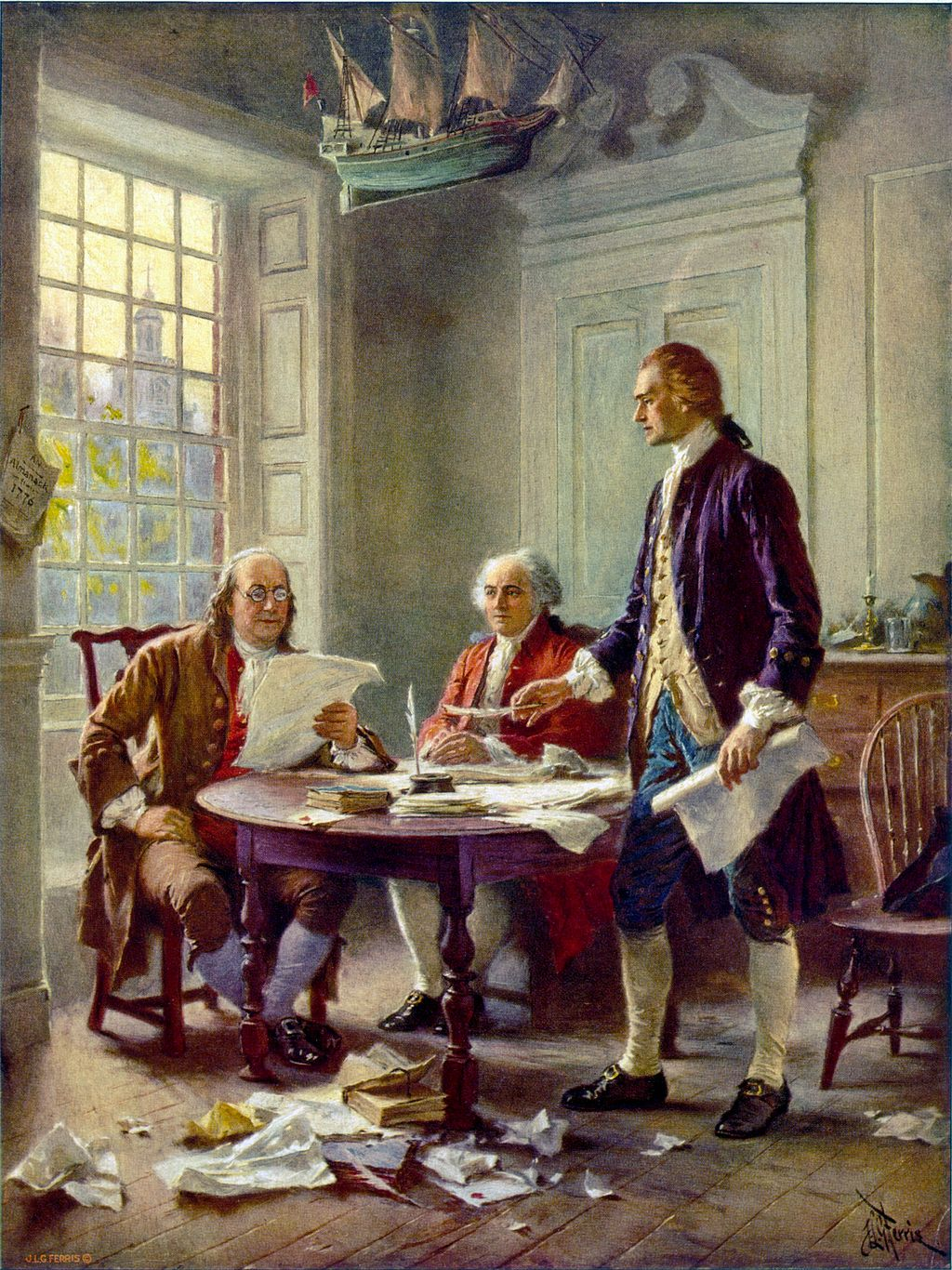 Writing the Declaration of Independence 1776, Jean Leon Gerome Ferris. Image courtesy of Wikipedia Commons.
