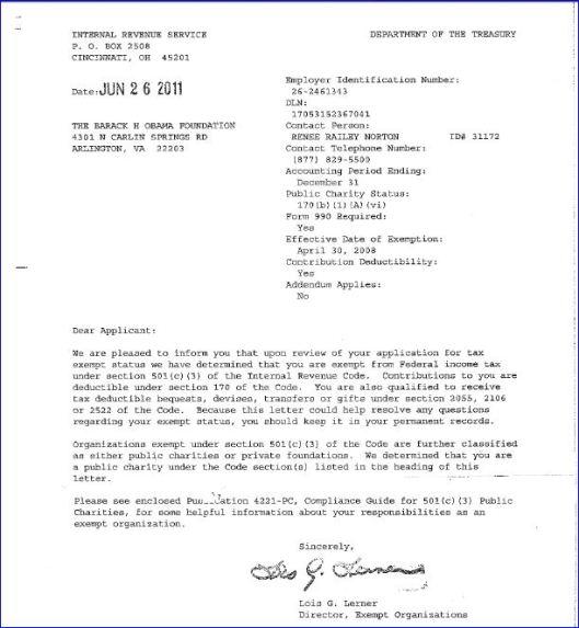 Barack H Obama Foundation IRS Tax Exempt Letter signed by Lois Lerner screenshot