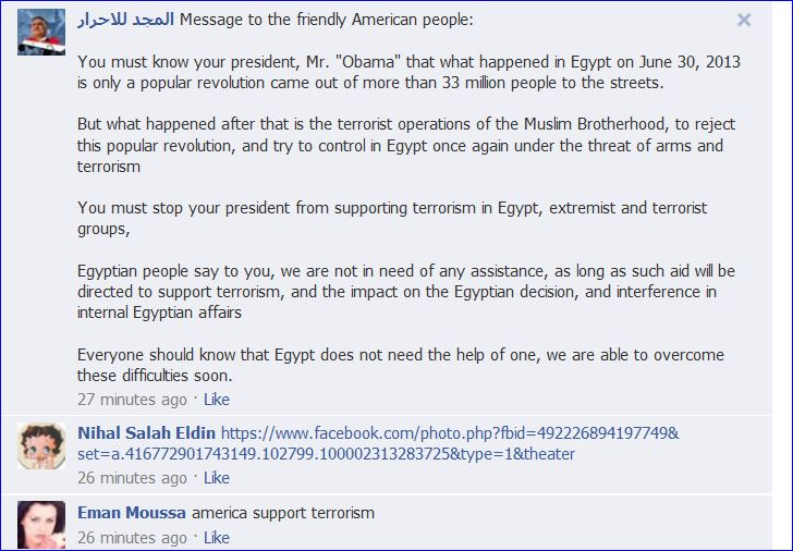 Egyptians protest on Obamas FB Page 004